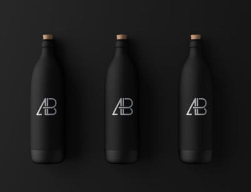 Free Three Black Bottles Mockup
